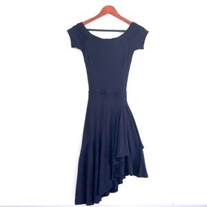 h&m Off Shoulder Navy Asymmetrical Ruffle Dress